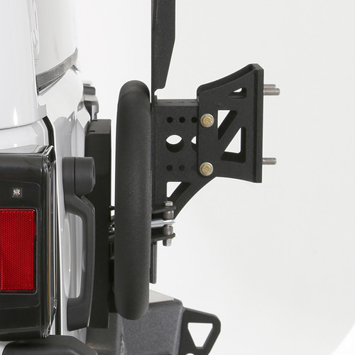 Side View of Smittybilt Gen2 Bolt-On Tire Carrier Mounted on Jeep JK