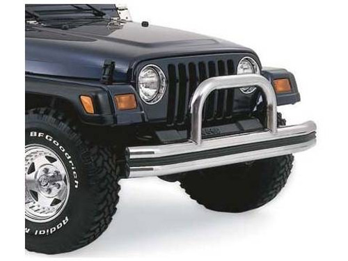 Side View of Rampage Products Front Bumper with Hoop in Stainless