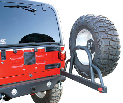 Rampage Products Rear Recovery Bumper with Tire Swing in Open Position