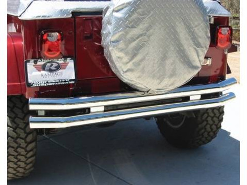 Rampage Products Front OR Rear Stainless Steel Dual Tube Bumper with No Hoop