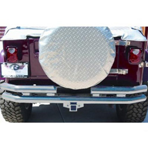 Rampage Products Stainless Steel Rear Double Tube Bumper with Hitch for Jeep Wrangler YJ, TJ/LJ
