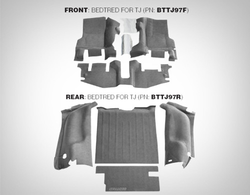 BedRug BTTJ97R BedTred Rear 4 Piece Floor Liner for Jeep Wrangler TJ 1997-2006