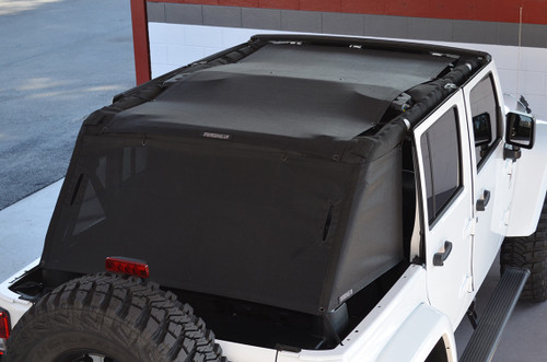 SpiderWebShade CargoShade Mounted on Jeep Wrangler JK 4 Door