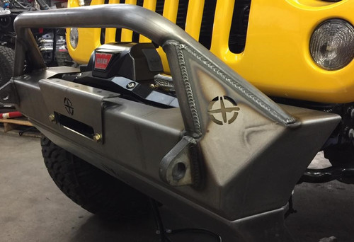 EVO MFG Pro Series Front Bumper with Hoop Mounted on Jeep JK