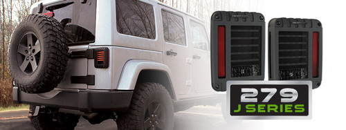 JW Speaker Model 279 Series LED Tail Lights Mounted on JK