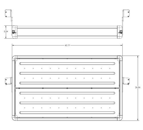 Diagram of TeraFlex Rear Utility Cargo Rack in Silver for Jeep JK 4 Door
