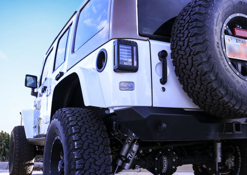 TeraFlex License Plate Delete Badge Mounted on Jeep Wrangler JK