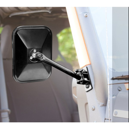 Rugged Ridge Rectangular Quick Release Mirror Kit in Black for JK, TJ & LJ
