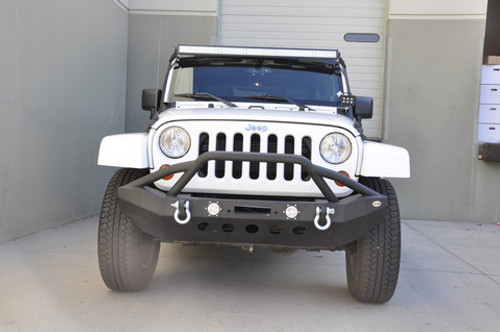 DV8 Offroad LFS-8 Front Mid Width Bumper with 2 LED Lights for Jeep JK