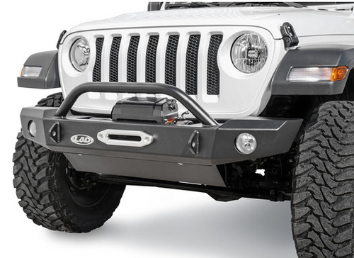 LoD Offroad JFB1843 Signature Series Mid Width Front Bumper with Bull Bar & D-Ring Tabs for Jeep Wrangler JL 2018+