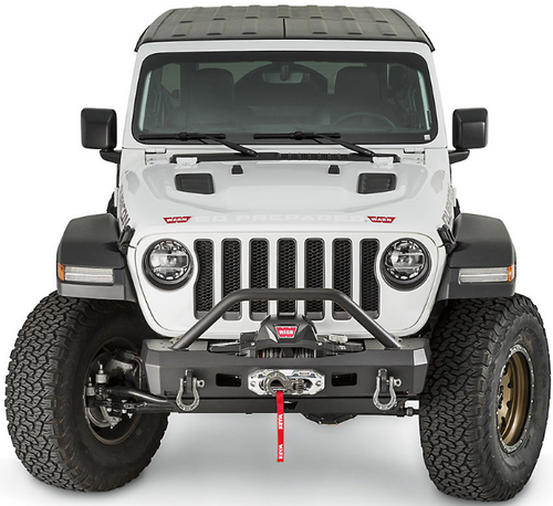 WARN 101330 Elite Series Stubby Front Bumper with Grille Guard for Jeep Wrangler JL & Gladiator JT 2018+