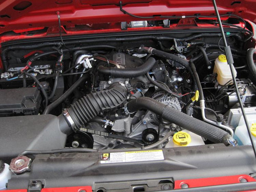 Air Filter Shown Under Hood of 3.8L Jeep Wrangler