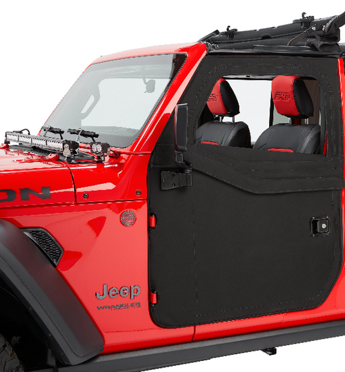 Bestop 51750-35 2-Piece Front Fabric Doors in Black Diamond for Jeep Wrangler JL 2018+