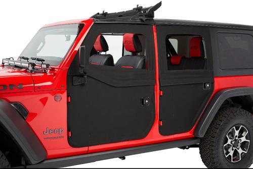 Bestop 5175035/5175135 2-Piece Front & Rear Fabric Doors in Black Diamond for Jeep Wrangler JL 4 Door 2018+