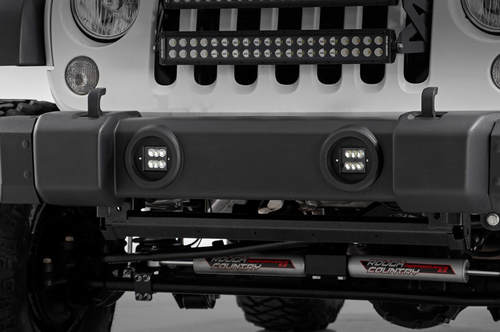 "Rough Country 70623 2"" LED Cube Light with Fog Light Mounting Kit for Jeep Wrangler JK 2007-2009"
