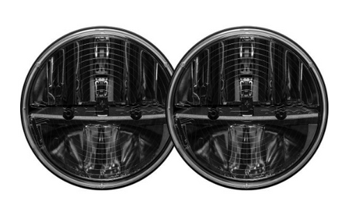 """Rigid Industries 55005 Truck-Lite 7"""" Round LED Heated Headlight Pair with H13 to H4 Adapters for Jeep Wrangler JK 2007-2018"""