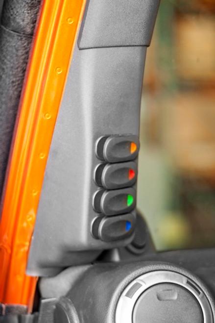 Rugged Ridge A-Pillar 4 Switch Pod Kit (Wrangler JK 2007-2010)