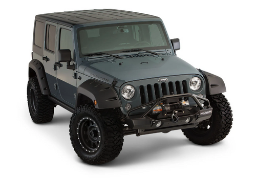 Bushwacker 10077-02 Factory Coverage Front Pocket Style Fender Flares for Jeep Wrangler JK 2007-2018