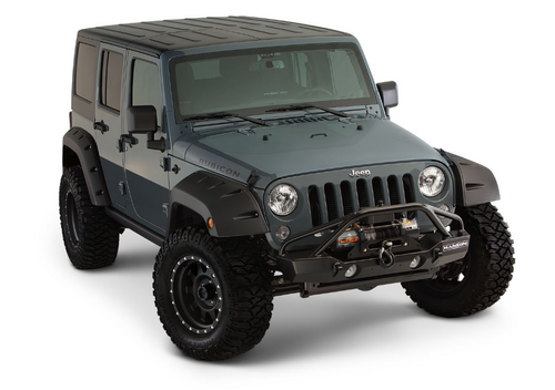 Bushwacker 10080-02 Factory Coverage Pocket Style Fender Flares for Jeep Wrangler JK 4 Door 2007-2018