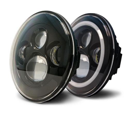 DV8 Offroad HL7JK-02 LED Projector Headlights with Angel Eyes for Jeep Wrangler JK 2007-2018