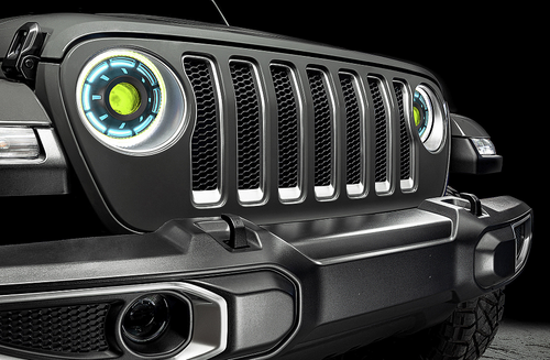"Oracle Lighting 5839-504-B Oculus 9"" Bi-LED Projector Headlights with ColorSHIFT & Simple Remote for Jeep Wrangler JL & Gladiator JT 2018+"