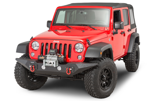 Rugged Ridge 11548.03 Spartan Front Bumper in Textured Black Powder Coat for Jeep Wrangler JK 2007-2018