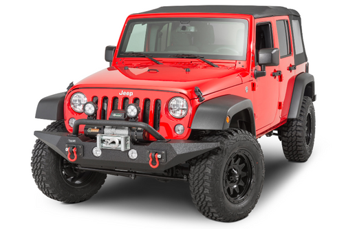 Rugged Ridge 11548.02 Spartan Front Bumper with OverRider in Textured Black for Jeep Wrangler JK 2007-2018