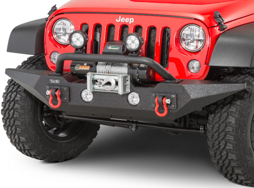 Rugged Ridge 11548.72 Spartan Front Bumper with OverRider in Satin Black for Jeep Wrangler JK 2007-2018