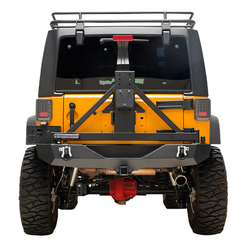Paramount Automotive 51-0315 Heavy Duty Rock Crawler Rear Bumper with Tire Carrier for Jeep Wrangler JK 2007-2018