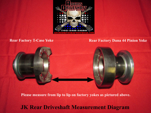 Rear JK Driveshaft Measurement Required Prior To Order