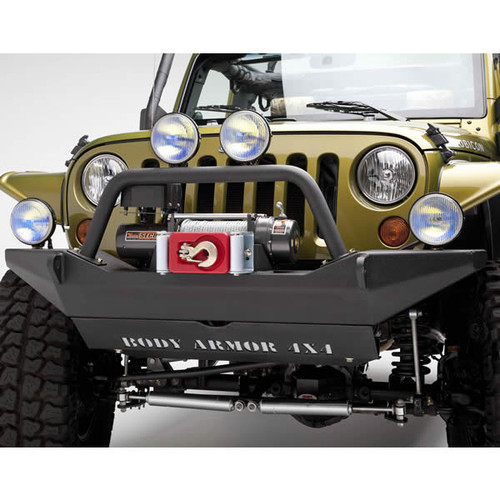 Body Armor 4x4 Front High Clearance Winch Bumper Mounted on Wrangler JK