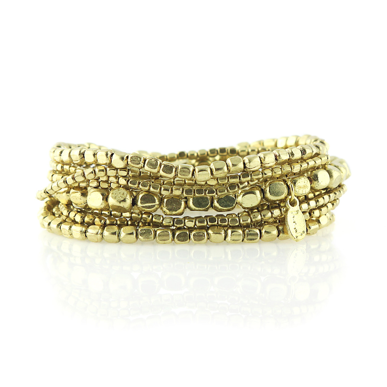 Gold Liquid beaded cuff bracelet-Presh by Nicole Apostoli 969a5e310