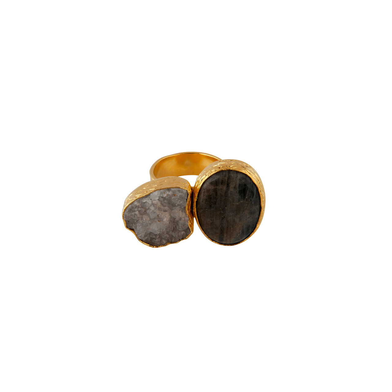 b89297a98f7c5 Bold Double Stone Ring with Druzy Quartz and Labradorite