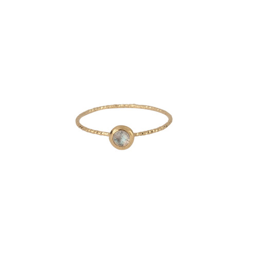 Plated Silver Ring with Spherical Gemstone Effie Gem Ring with Labradorite and Gold Presh Ring Textured Gold Ring with Tiny Stone
