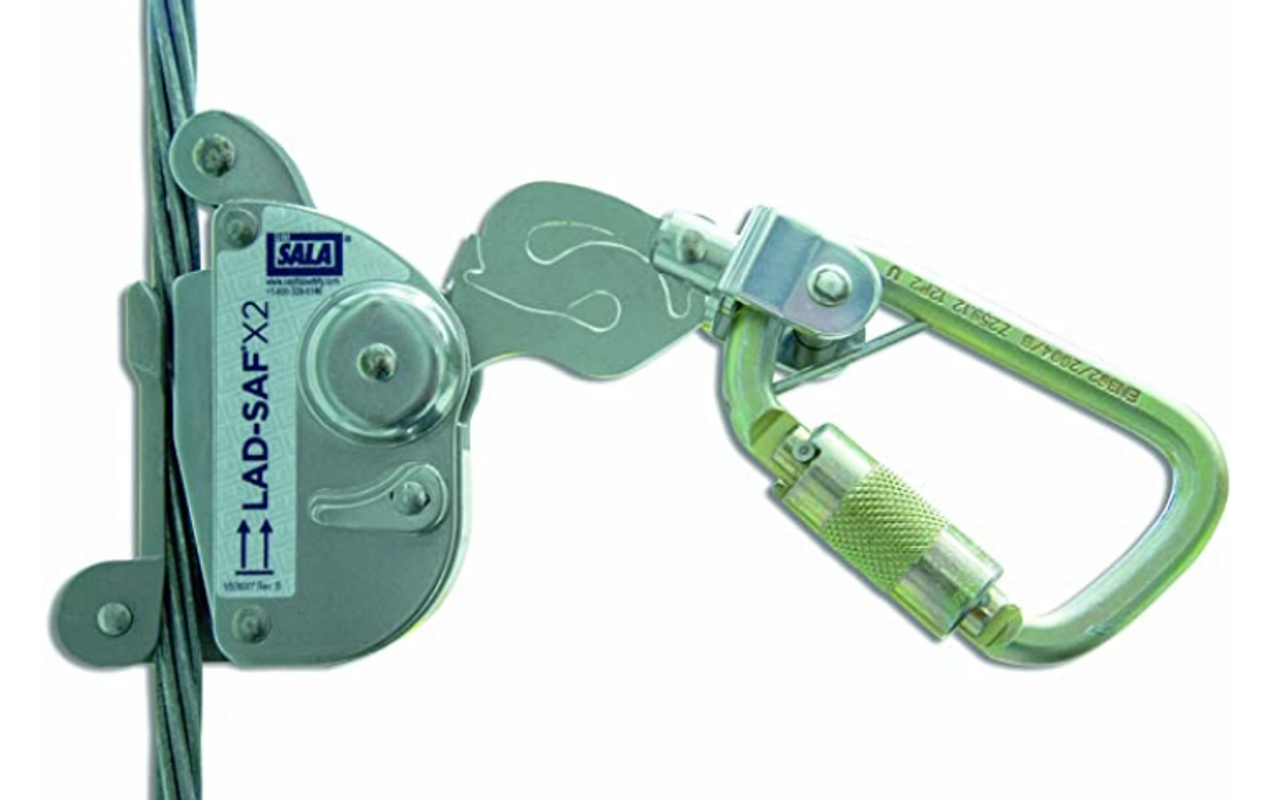 "3M DBI-SALA 6160030 Lad-Saf Sleeve with Carabiner, Cam and Inertial Locking Fits 3/8"" and 5/16"" Diameter, Silver"