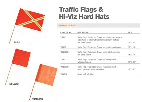 TRAFFIC FLAG ORANGE NYLON W/ STRIP