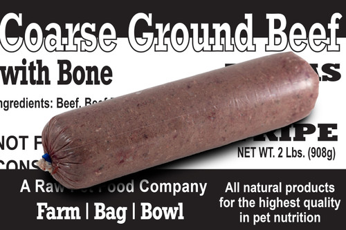 Course Ground Beef with Bone Raw Dog Food