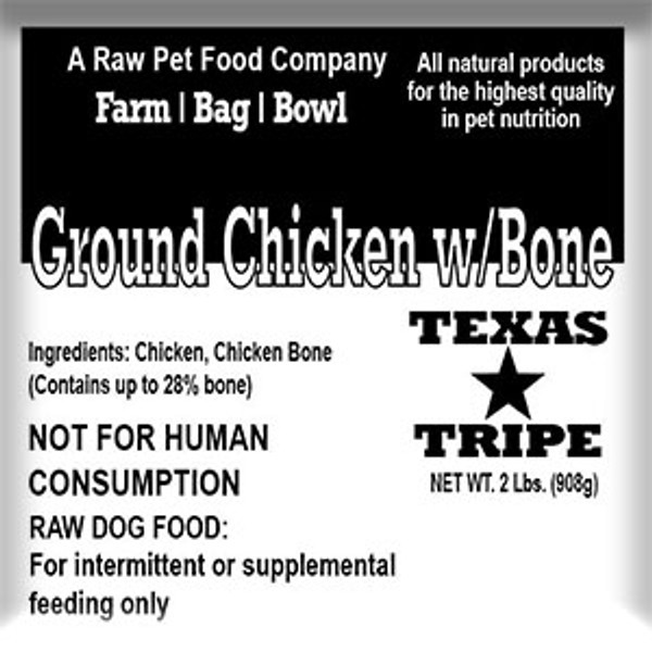 Ground Chicken with Bone - 20 lb case