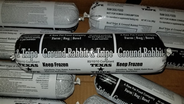Ground Rabbit with Tripe - 20 lb. case