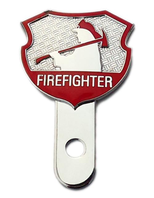 Firefighter Shield License Plate Medallion