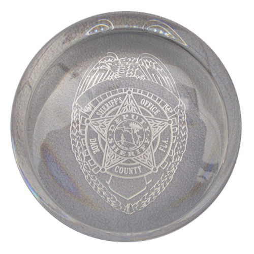 Miami-Dade Police Department Slanted Dome Paperweight Badge Design