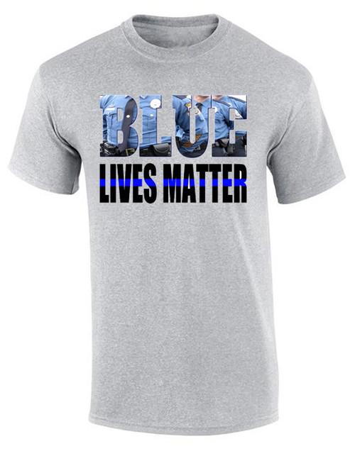 """NEW! T-Shirt """"Blue Lives Matter"""" 100% Polyester"""