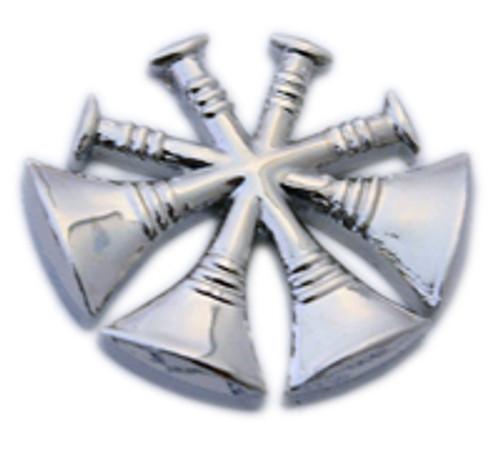 4 CROSSED TRUMPETS Nickel