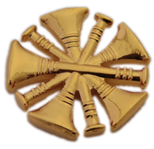 5 CROSSED TRUMPETS GOLD