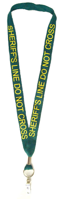 Green 'Sheriff Line Do Not Cross' Lanyard