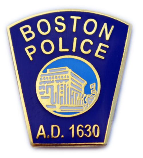 Boston Police Patch Gold Lapel Pin