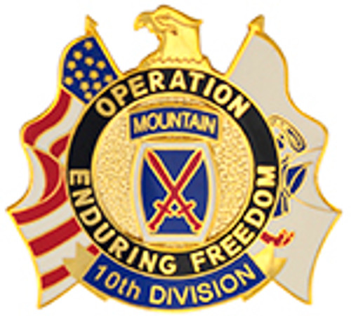 10TH DIVISION MOUNTAIN OPERATION ENDURING FREEDOM LAPEL PIN