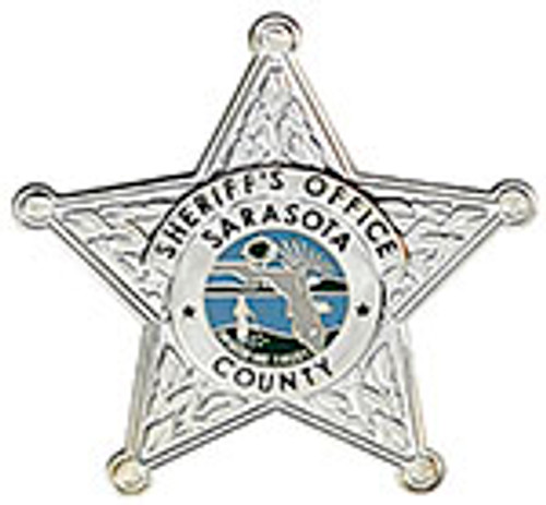 SARASOTA COUNTY SHERIFF'S OFFICE BADGE LAPEL PIN, SILVER
