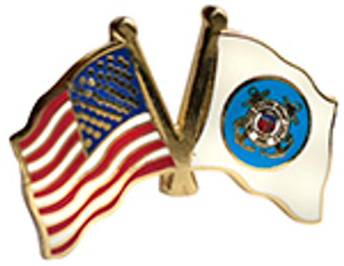 USA Flag / US Coast Guard Lapel Pin