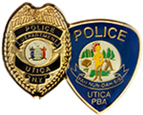 UTICA POLICE DEPARTMENT BADGE AND PATCH LAPEL PIN